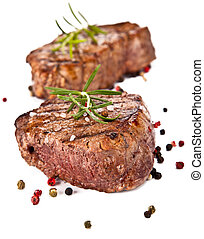 Beef steak - Delicious beef steaks isolated on white ...