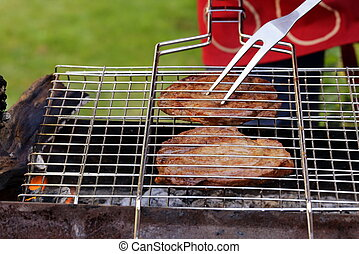 beef steak grilled on a barbecue