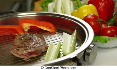 Beef Steak Grilled With Vegetables