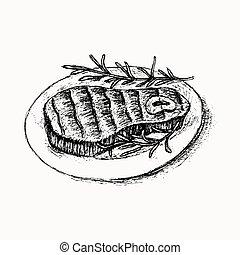 Beef steak hand drawn sketch on the white
