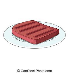 Beef steak on a plate icon, cartoon style