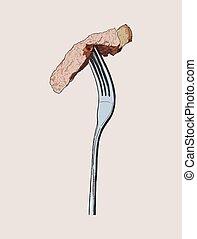 beef steak on fork, sketch vector.