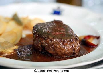 Beef steak - tenderloin steak Beef on white plate with ...