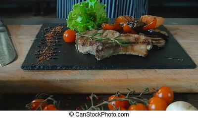 Beef Steak With Grilled Vegetables On Wooden Board