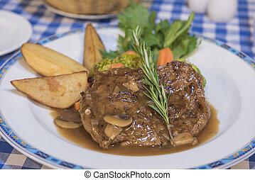 Beef steak with mushroom sauce a la carte meal - Beef steak...
