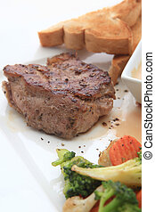 Beef steak with salad