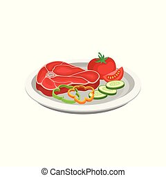 Beef steak with vegetables on a plate, grilled meat vector Illustration on a white background