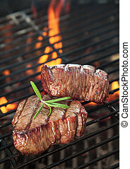 Beef steaks - Delicious beef steakes on grill