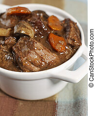 beef stew bourguignon - Delicious bourguignon beef stew in a...
