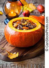 Beef stew in pumpkin - Beef stew with vegetables  in pumpkin