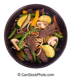 Beef stir fry bowl over white background