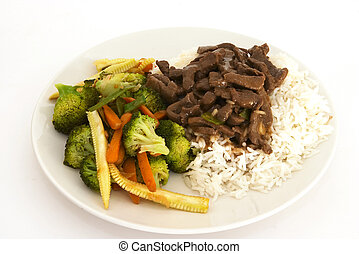 Beef stir-fry - Stir-fried oriental beef with stir-fried veg...