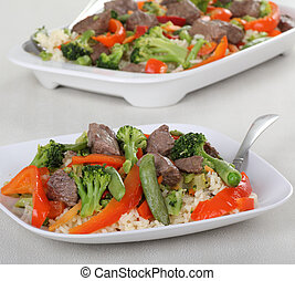 Beef Stir Fry - Beef stir fry with beef tips, red bell...