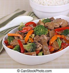 Beef Stir Fry - Beef stir fry with broccoli; mushrooms and...