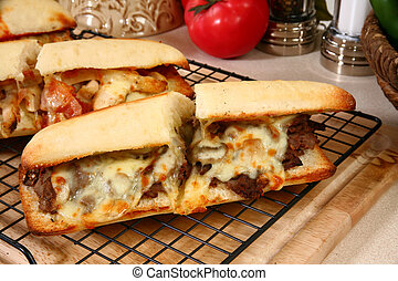Beef Sub Sandwich - Hot toasty submarine sandwiches with...