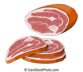 Beef tenderloin. Pork knuckle. Slice of steak, fresh meat. ...
