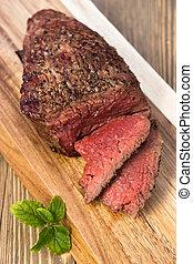 Beef Top Sirloin Steak Roast Sliced Coooked Medium Rare