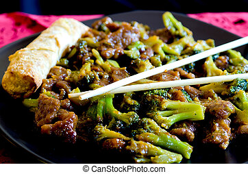 Beef with Broccoli and Spring Roll