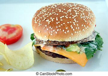 beefburger fsat food & chips