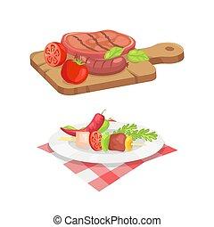 Beefsteak and Skewer Icons Vector Illustration - Beefsteak ...