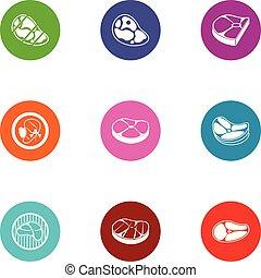 Beefsteak icons set, flat style - Beefsteak icons set. Flat ...