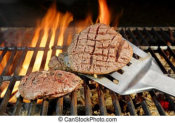 Beefsteak on Flaming Grill
