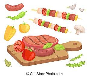 Beefsteak Roasted Meat Icons Vector Illustration - Beefsteak...