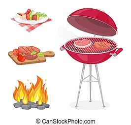 Beefsteak Roasted Meat Set Vector Illustration - Beefsteak ...