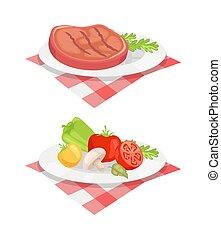 Beefsteak Served on Plate Vector Illustration - Beefsteak ...