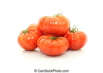 Beefsteak tomatoes - details of beefsteak tomatoes isolated...