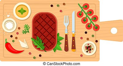 Beefsteak with cutlery on a board vector flat isolated - ...