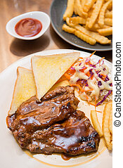 beefsteak with french fries