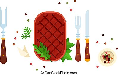 Beefsteak with herbs and cutlery vector flat isolated - ...