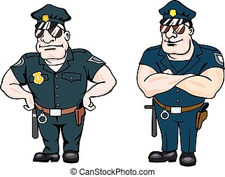 Beefy determined police officers, one standing with his...