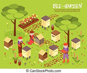Beegarden Bee Yard Isometric Illustration