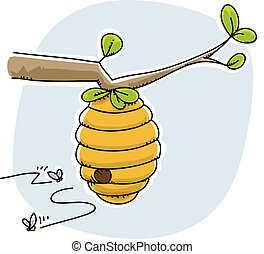 Beehive - A cartoon beehive with bees coming and going.