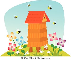 Beehive - Cute cartoon beehive on a field with flowers and...
