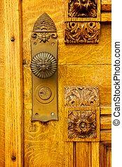 The doorknob of Brigham Young's historic Beehive House in Salt Lake City, Utah