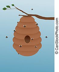 Beehive - Illustration of a beehive hanging from a tree ...