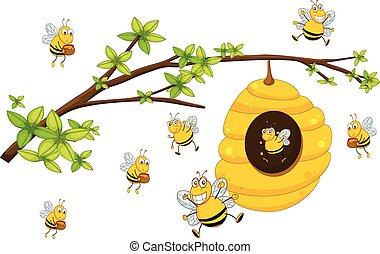 Beehive - Illustration of bee flying around a beehive