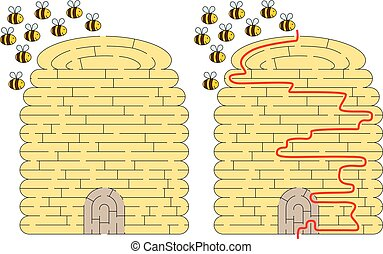 Beehive maze for kids with a solution