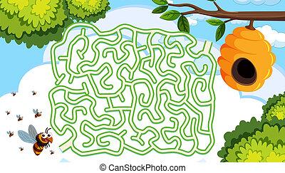 Beehive maze puzzle concept