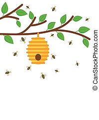 Beehive on a branch with bees