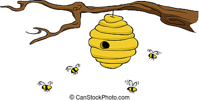 Beehive on a white background, vector illustration
