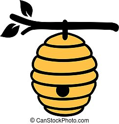 Beehive on branch