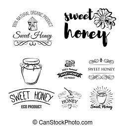 Beehive. Spoon of Honey. Flower. Honeycomb. A bee and a jar. Labels, logo and Badges Set. Vintage Illustration Vector