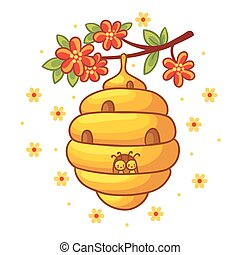 Beehive weighs on a branch with flowers.