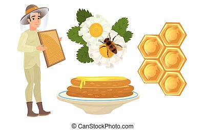 Beekeeper and different objects for honey production vector ...