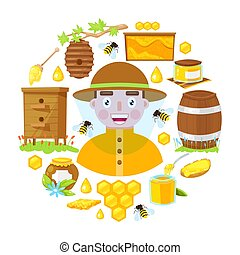 The beekeeper in protective clothes and with different objects of beekeeping on white background. Vector illustration.