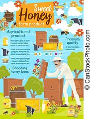 Beekeeper at apairy poster with beekeeping farm